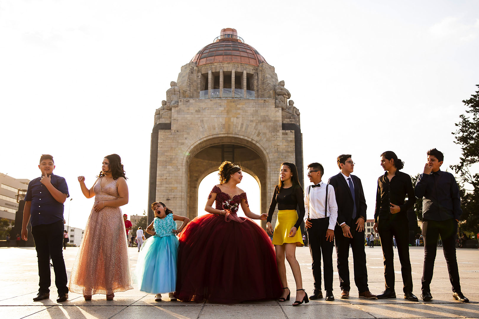 Leslie Valeria prepares for a photo session for her quinceanera at Monumento a la Revolucion in Mexico City.