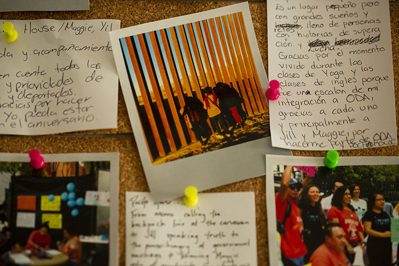 Letters and photos are posted in Poch@ House's center in Mexico City.